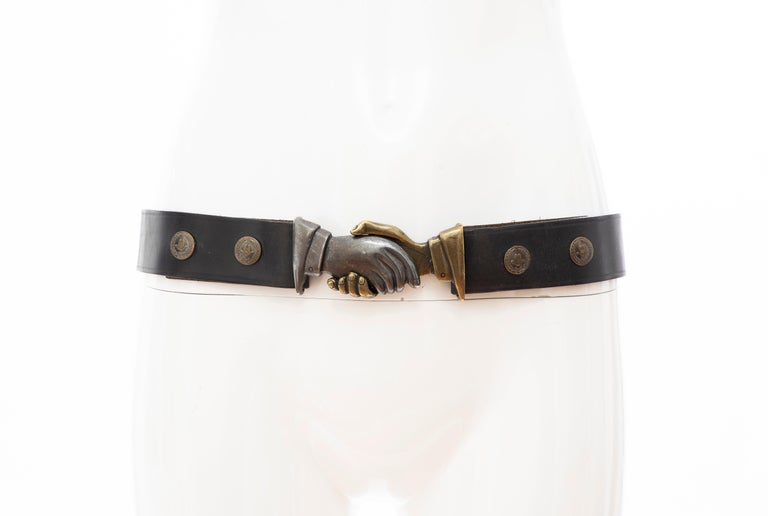 Moschino, Circa: 1990's,  leather belt with debossed