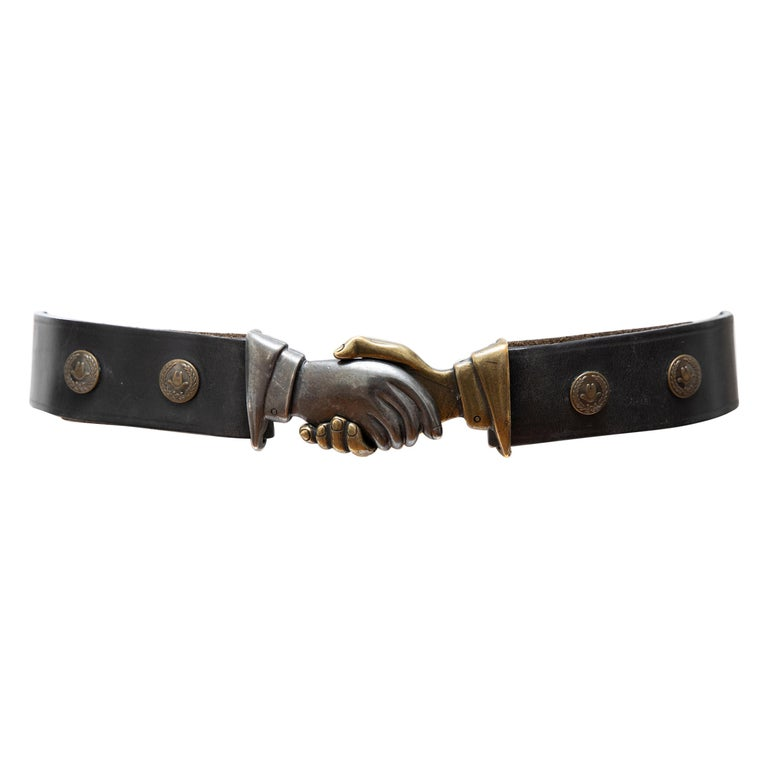 """Moschino Jeans """"Stop Racism!"""" Leather Belt """"No Al Razzismo!"""", Circa: 1990's For Sale"""