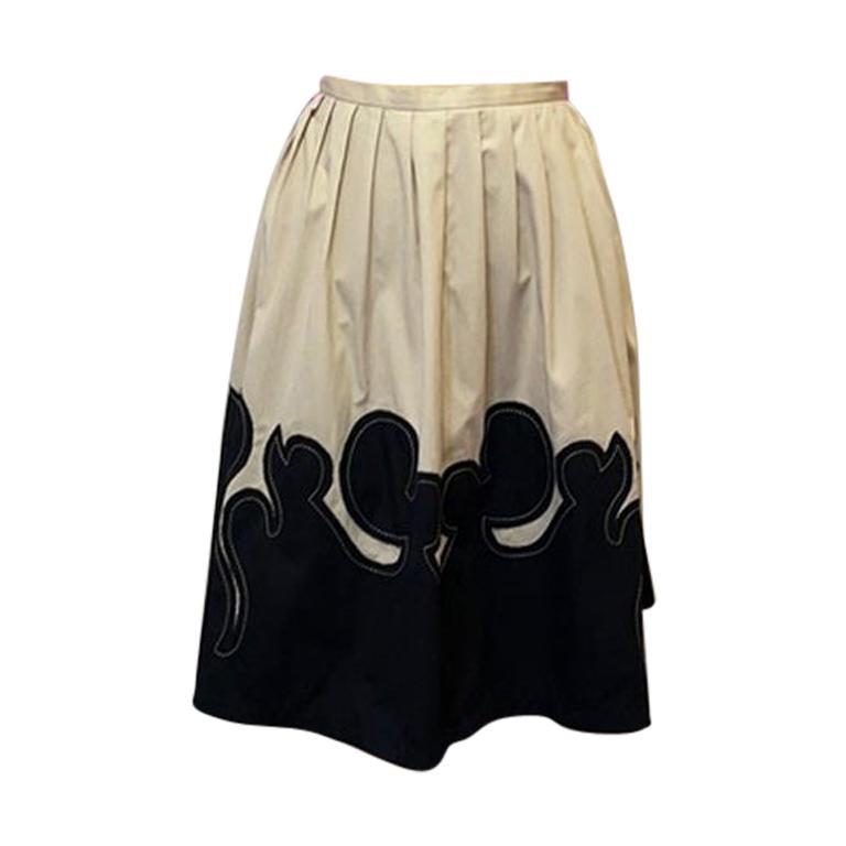 Moschino Jeans Tan Black Western Full Skirt