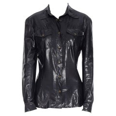MOSCHINO JEANS vintage black shimmery wet look slim fit worker shirt top S