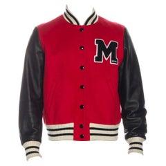 Moschino Jeremy Scott Couture Leather Varsity Jacket (Medium)