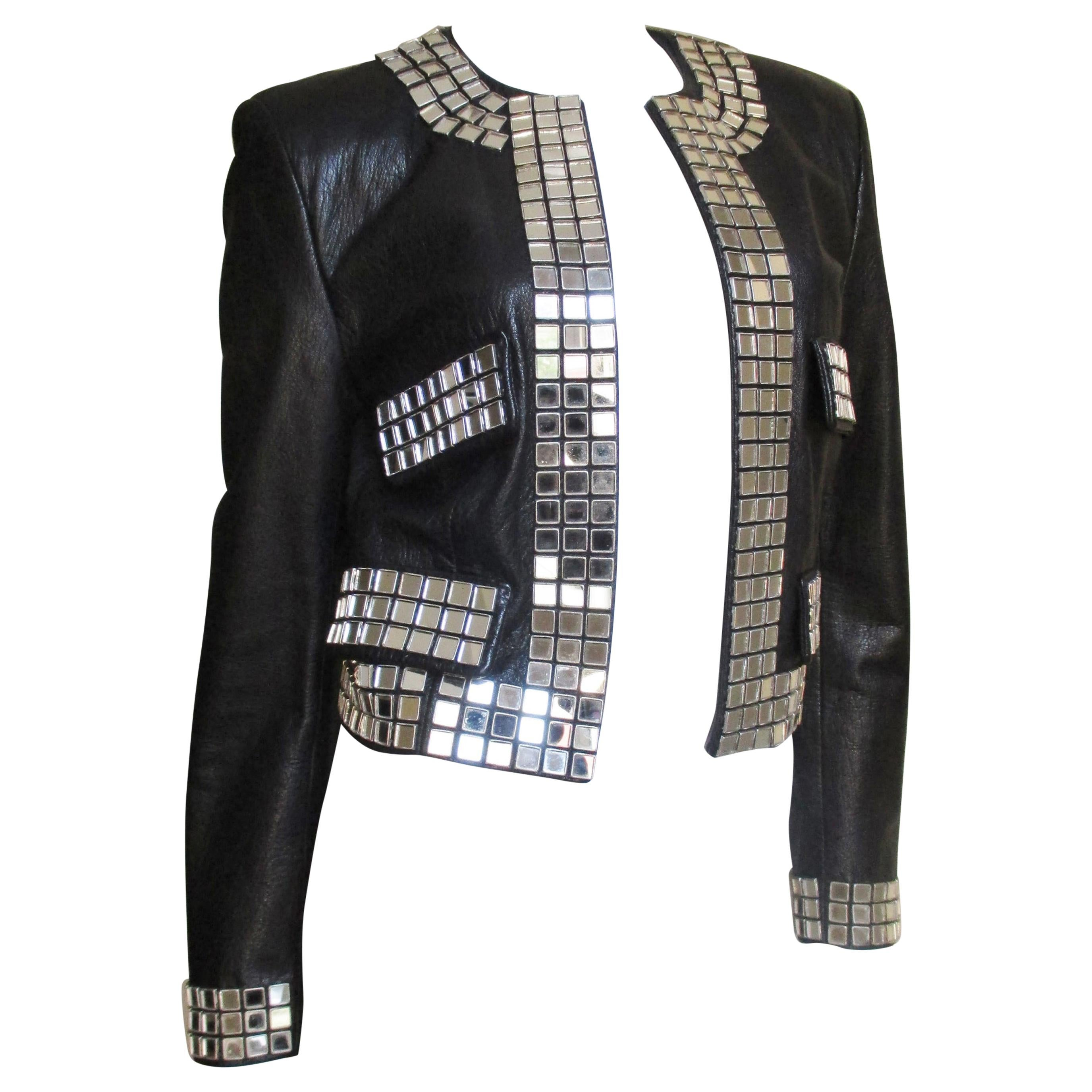 Moschino Leather Jacket with Mirror Trim