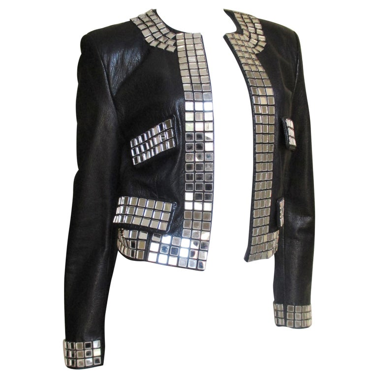 Moschino Leather Jacket with Mirror Trim  For Sale