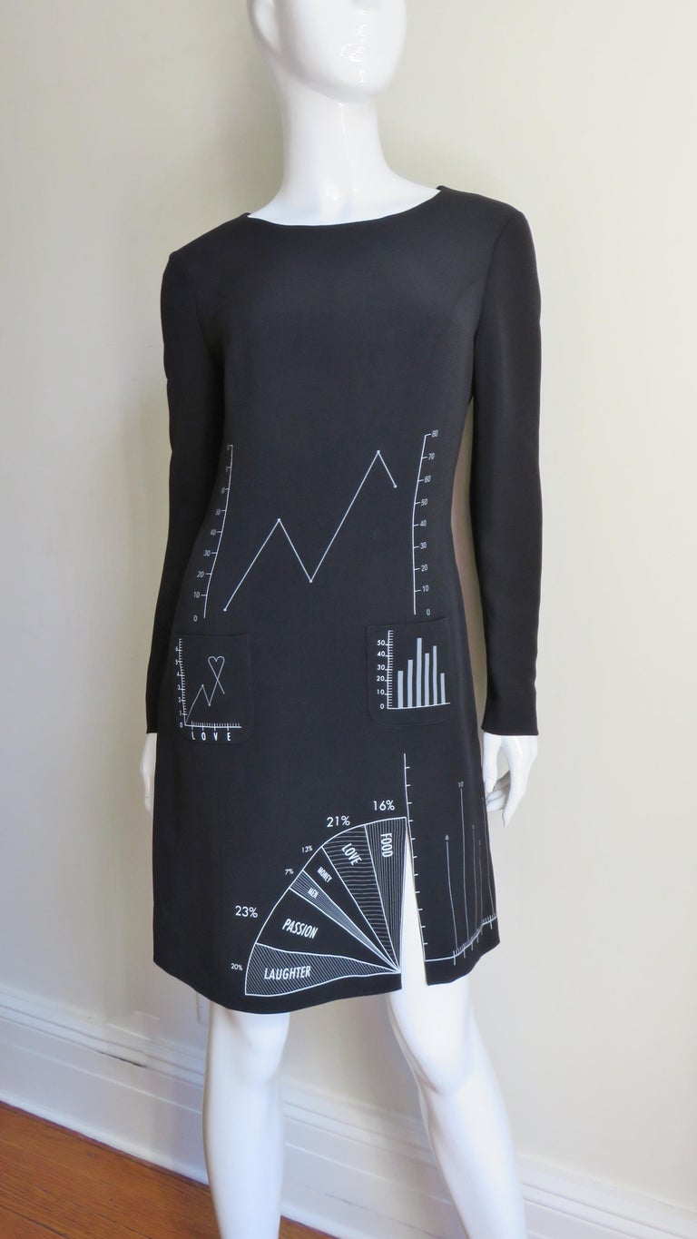 Moschino Life Charts and Graphs Screen Print Dress For Sale 2