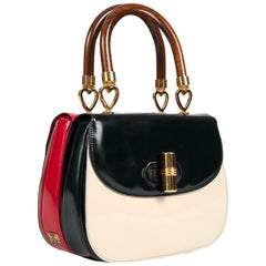 MOSCHINO Lipstick & Compact Color Block Top Handle Double Bag & Strap, c. 1991