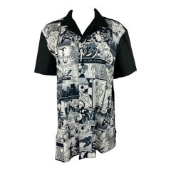 Moschino Love Black and White Graphic Button Down Shirt, Size XXL