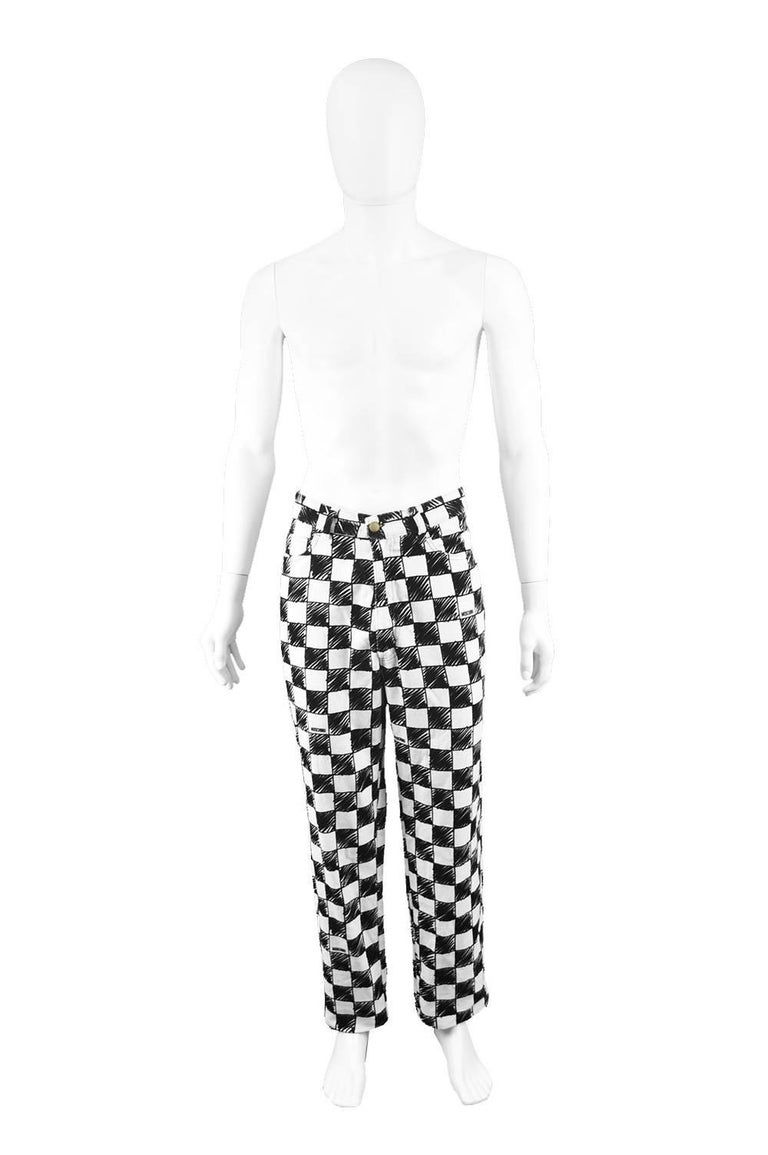 9bfd567d1b Moschino Men s Vintage 1990 s Black   White Velvet Checkerboard Print Pants  Size  Marked EU 54