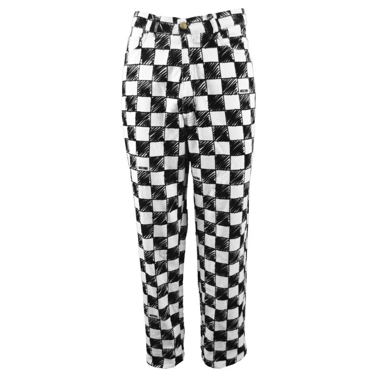 Moschino Men's Vintage Black and White Velvet Checkerboard Print Pants, 1990s