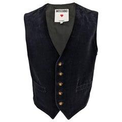 Moschino Mens Vintage Black Velvet Waistcoat Vest, 1980s