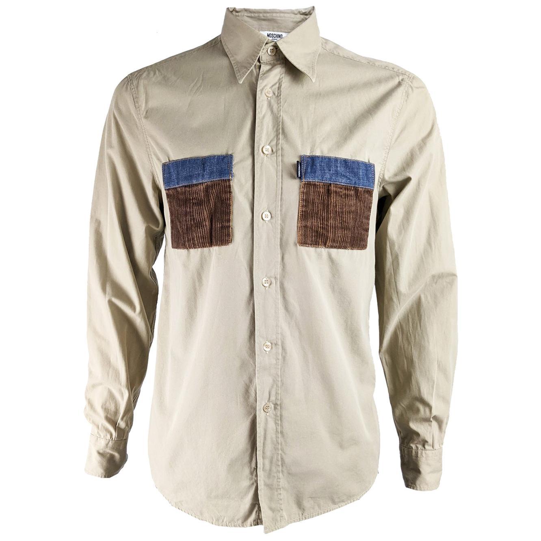 Moschino Mens Vintage Denim & Corduroy Pocket Shirt