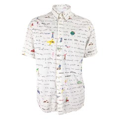 Moschino Mens Vintage White Cotton Short Sleeve Shirt