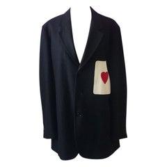 Moschino Mens Wool Heart Pocket Blazer Vintage