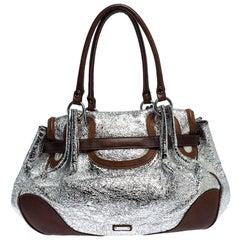 Moschino Metallic Silver Foil Leather Flap Satchel