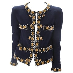 Moschino Navy Cotton Jacket with Measuring Tape, Thimble and Pearl Trim, c.1990s