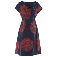 Moschino Navy Rose Print Midi Dress S