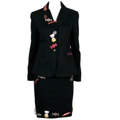 "Moschino ""Never Accept Sweets from Strangers"" Candy Embellished Blazer and Skirt"