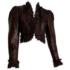 "MOSCHINO ""New"" Dark Brown Leather Perforated Edges Jacket - Unworn"