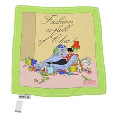Moschino 'Olive Oyl' Printed Silk Square Scarf Unworn with Tags