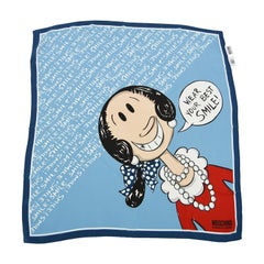Moschino Olive Oyl 'Wear Your Best Smile' Printed Silk Square Scarf