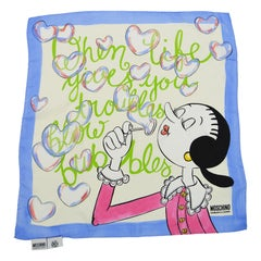 Moschino Olive Oyl 'When Life Gives You Troubles' Printed Silk Square Scarf