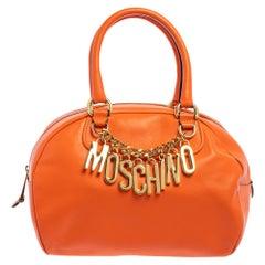 Moschino Orange Leather Logo Charm Bowling Bag