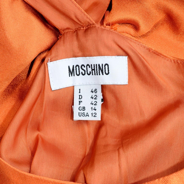 Moschino Orange Tent Dress W Ruffled Hem and Back Bow For Sale 5
