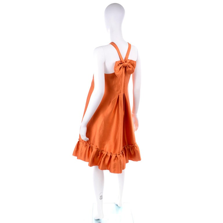 Red Moschino Orange Tent Dress W Ruffled Hem and Back Bow For Sale