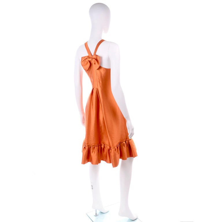 Women's Moschino Orange Tent Dress W Ruffled Hem and Back Bow For Sale