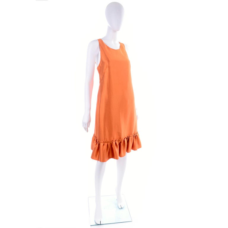Moschino Orange Tent Dress W Ruffled Hem and Back Bow For Sale 1