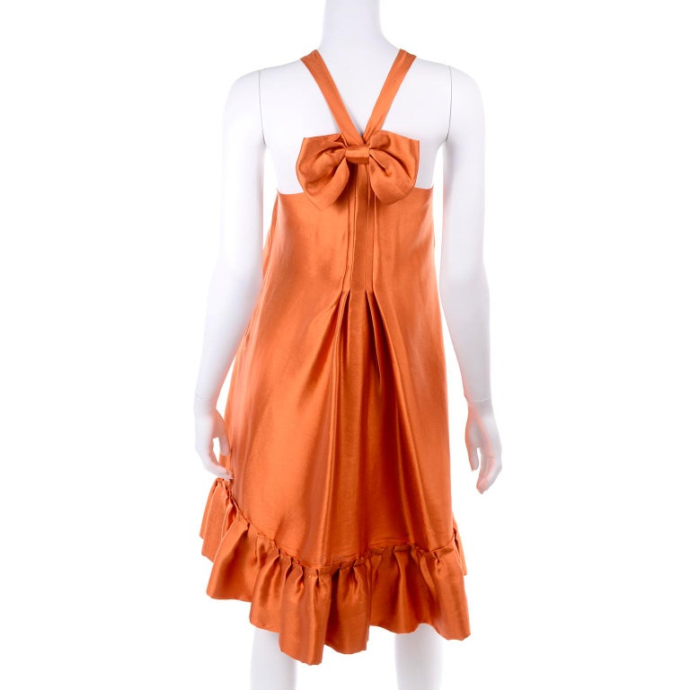 Moschino Orange Tent Dress W Ruffled Hem and Back Bow For Sale 2