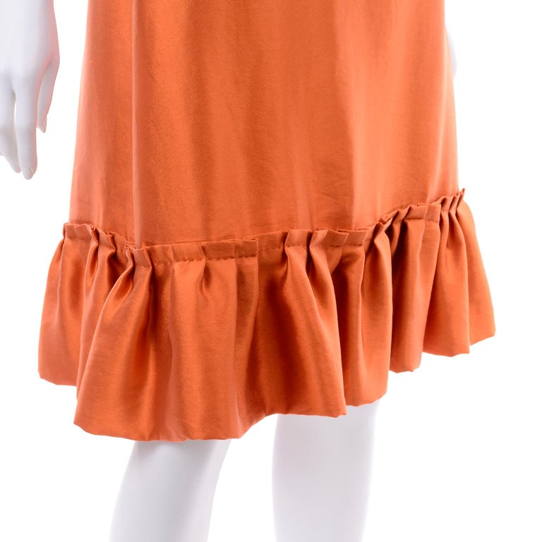 Moschino Orange Tent Dress W Ruffled Hem and Back Bow For Sale 3