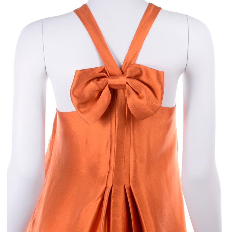 Moschino Orange Tent Dress W Ruffled Hem and Back Bow For Sale 4