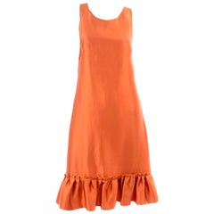 Moschino Orange Tent Dress W Ruffled Hem and Back Bow