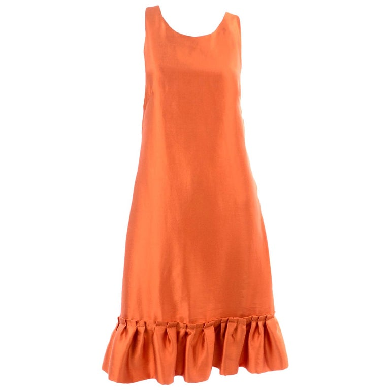 Moschino Orange Tent Dress W Ruffled Hem and Back Bow For Sale