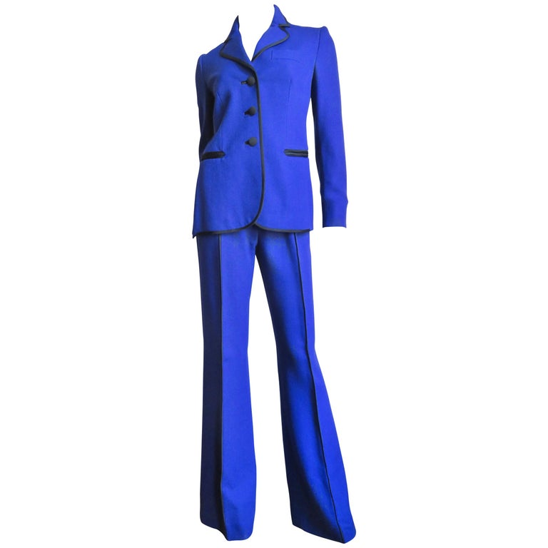 Moschino Pant Suit with Embroidered Eyes in Back For Sale