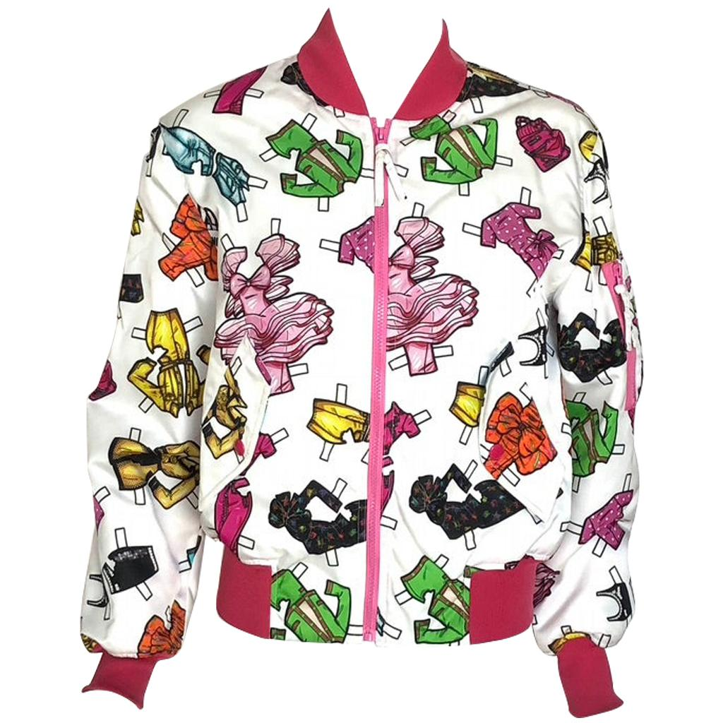 MOSCHINO paper doll print bomber jacket