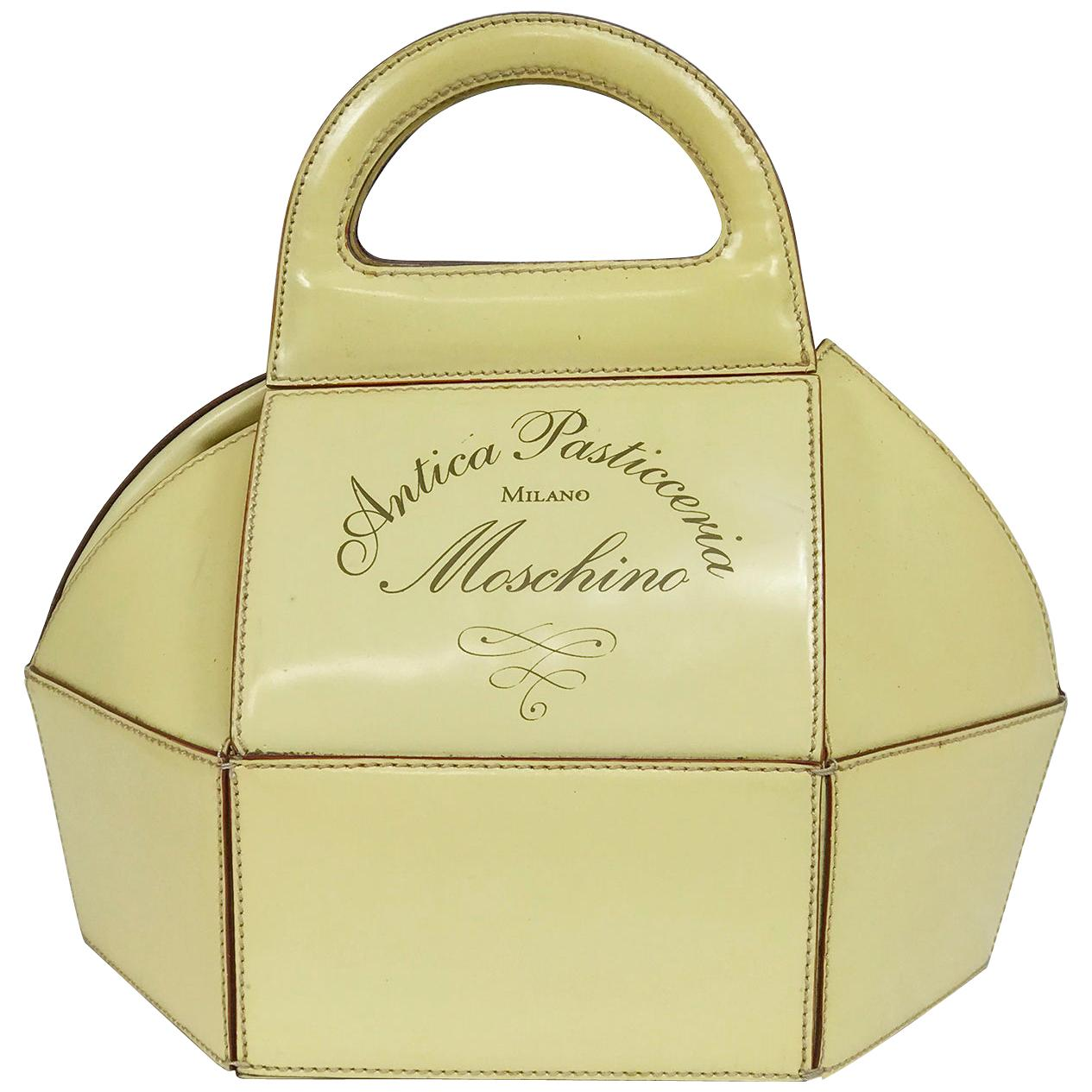 Moschino Pastry Box Glazed Leather Handbag