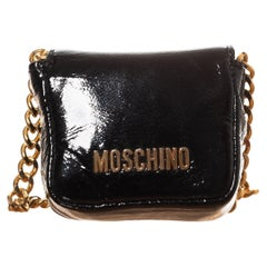 Moschino Patent Leather Navy Bandouliere Bag