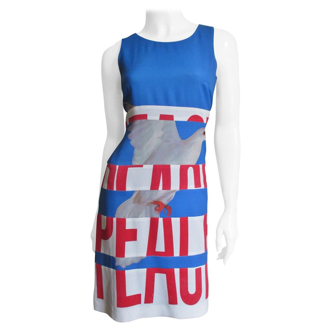 Moschino PEACE and STOP War Letter Dress