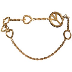 Moschino Peace Sign Gold Tone Metal Chain Belt