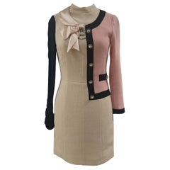 Moschino pink black wool dress