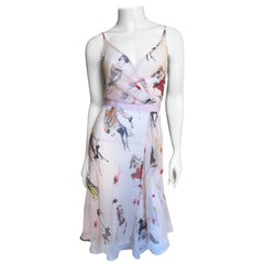 Moschino Pink Silk People Pattern Wrap Dress