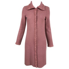 Moschino Pink Wool Knit Coat with Rosette Lace Trims