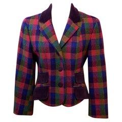 Moschino Plaid Wool Blazer Velvet Trim