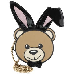 Moschino Playboy Bear Chain Crossbody Bag Leather with Patent Small