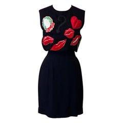 Moschino Pret A Porter Black Red Lips Dress