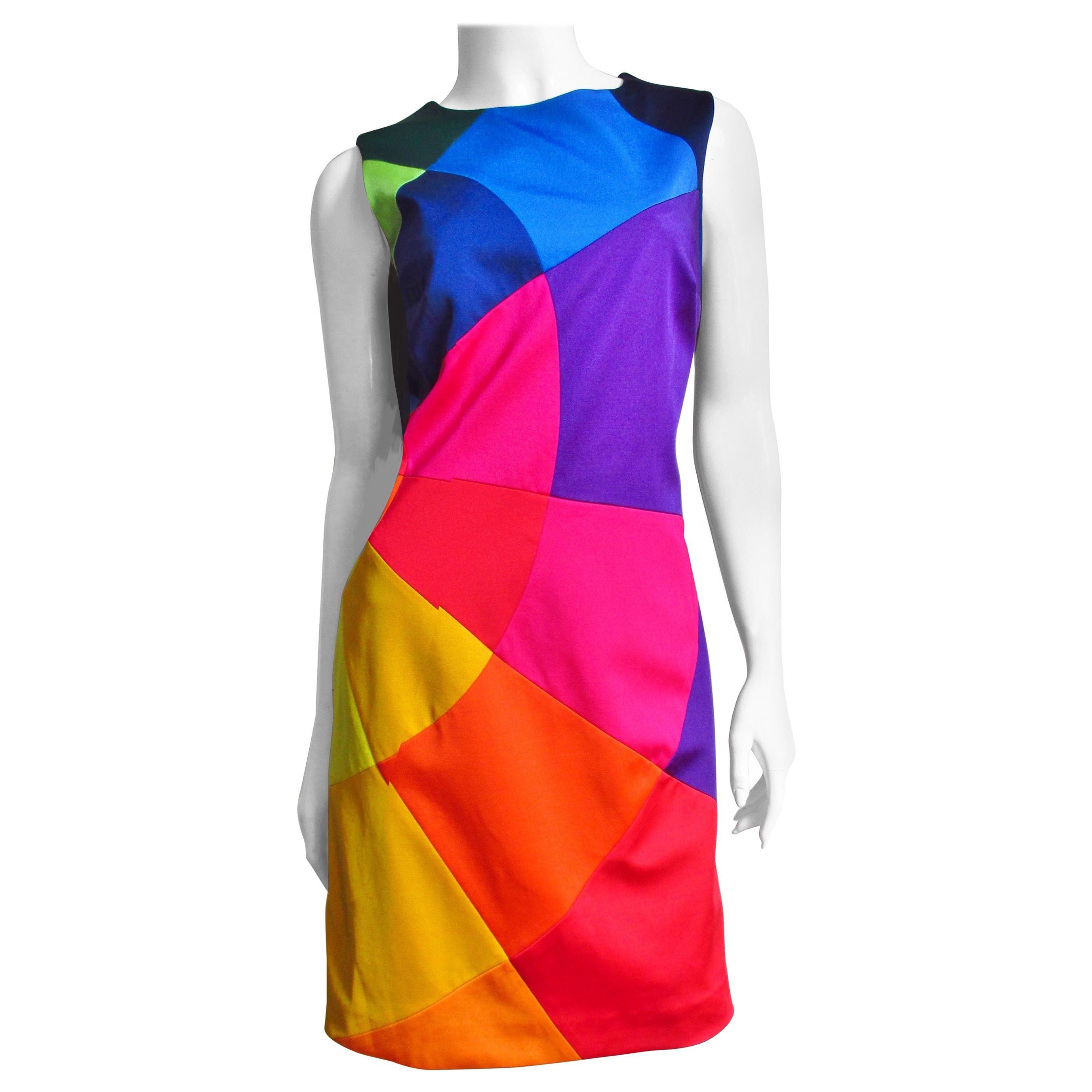 Moschino Rainbow Color Block Dress