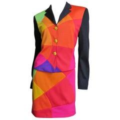 Moschino Rainbow Color Block Skirt Suit