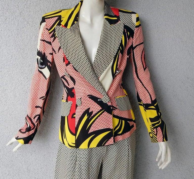 Franco Moschino, Cheap & Chic suit, 1992. Features Lichtenstein cartoon-like dot design, printed words in Italian say Domani E' Un Altro Giorno -