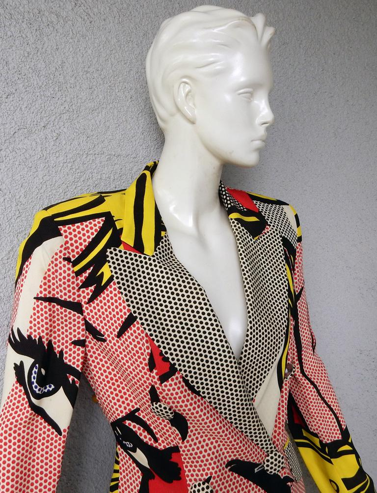 Brown  Moschino Rare Roy Lichtenstein Jacket and Pants Suit S/S 1991 For Sale